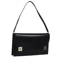 Hermes Black Leather Evening Silver Stud Top Handle Satchel Kelly Style Bag