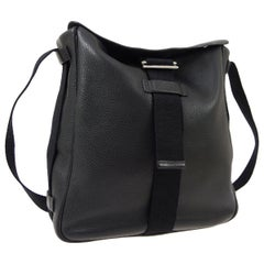 Hermes Black Leather Fabric Carryall Men's Women's Shoulder Crossbody Bag