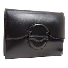 Hermes Black Leather Fold In Buckle Envelope Evening Flap Clutch Bag