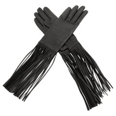 Hermès Black Leather Fringed Gloves size 7.5
