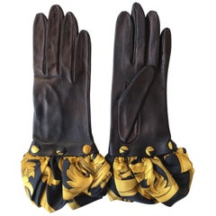 Hermes Black Leather Gloves with Optional Silk Cuffs