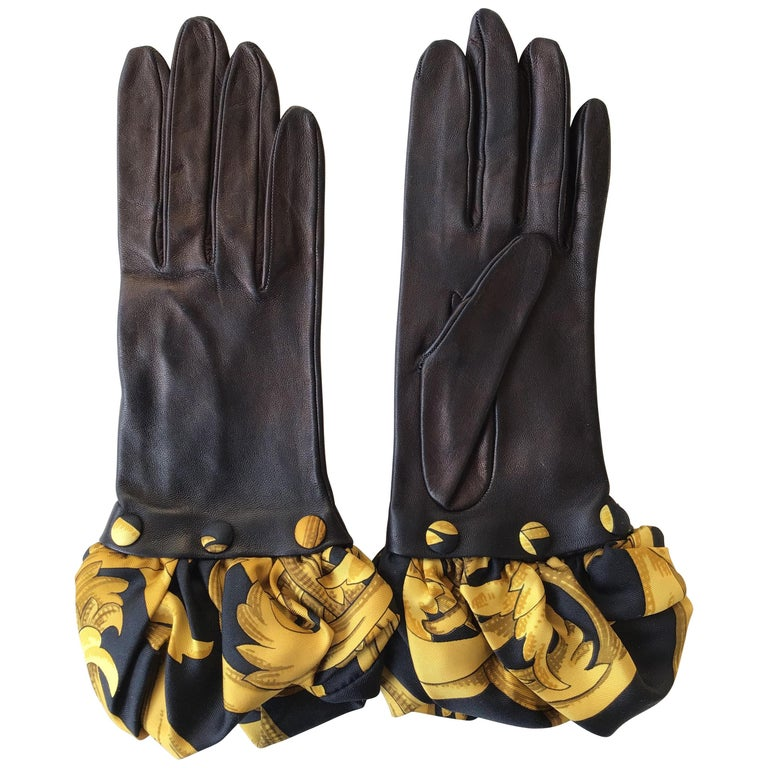 Hermes Black Leather Gloves with Optional Silk Cuffs For Sale