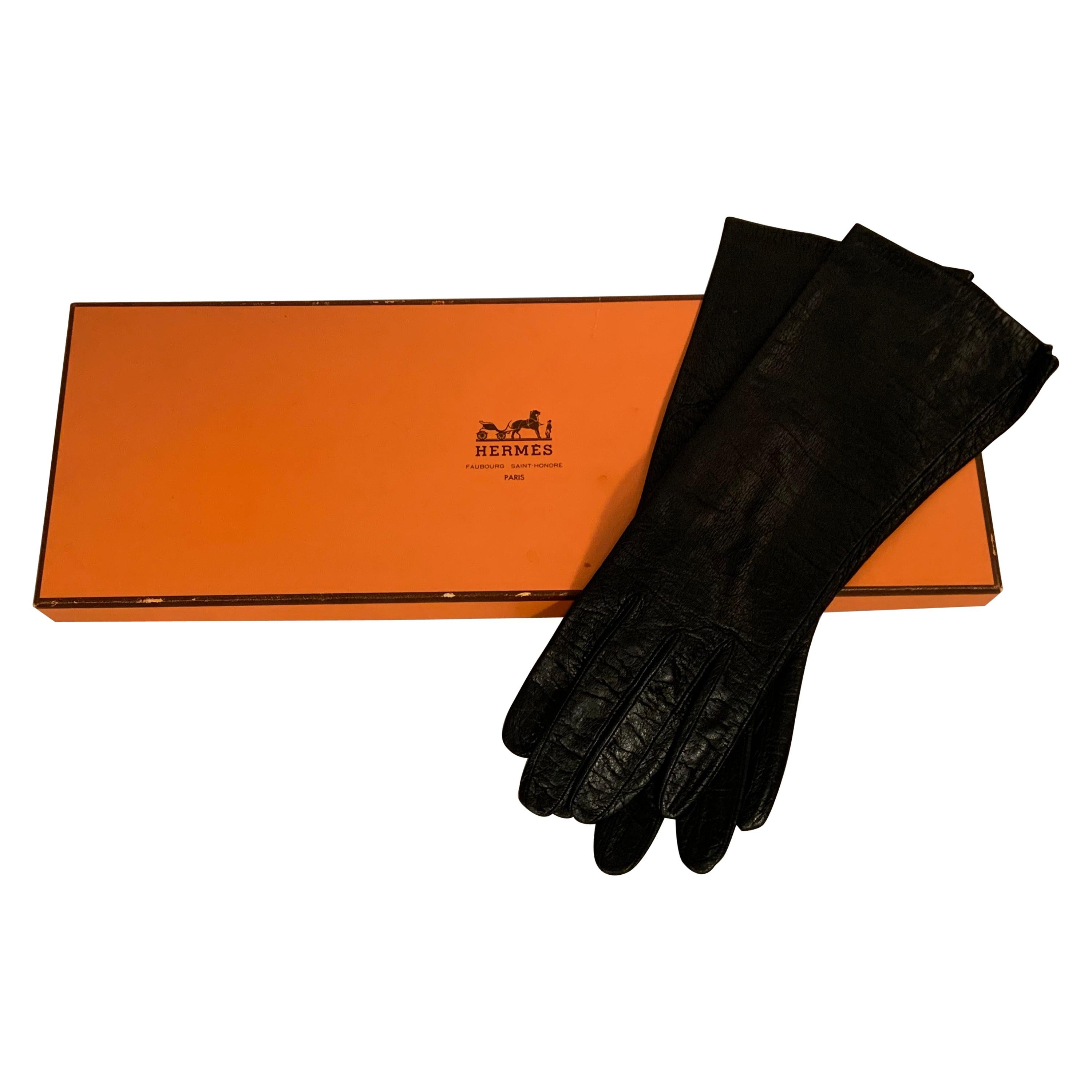 Hermes Black Leather Gloves with Silk Lining in Original Box