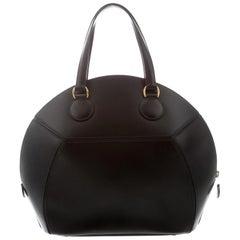 Hermes Black Leather Gold Carryall Top Handle Satchel Bowling Shoulder Bag