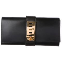 Hermes Black Leather Gold Collier Evening Envelope Clutch Flap Bag