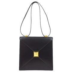 Hermes Black Leather Gold Emblem Evening Carryall Shoulder Flap Bag in Box