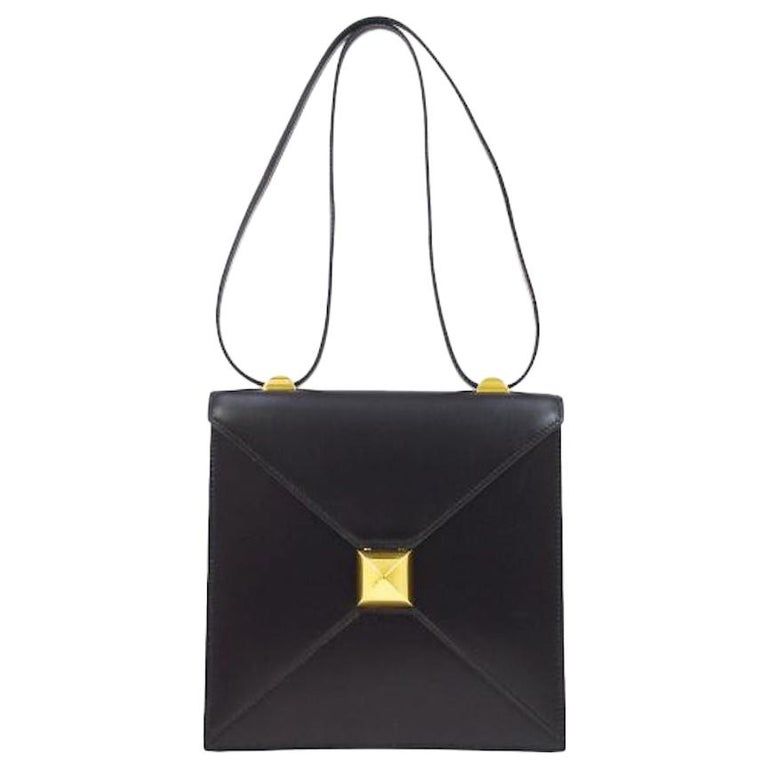 Hermes Black Leather Gold Emblem Evening Carryall Shoulder Flap Bag in Box  For Sale