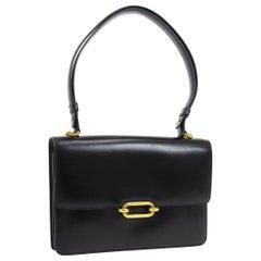 Hermes Black Leather Gold Emblem Evening Carryall Top Handle Shoulder Flap Bag