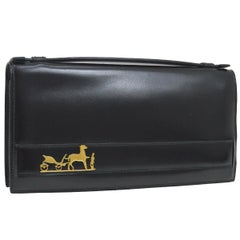 Hermes Black Leather Gold Emblem Evening Clutch Top Handle Satchel Flap Bag