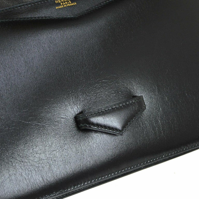 Hermes Black Leather Gold Emblem Evening Envelope Clutch Flap Bag In Good Condition For Sale In Chicago, IL