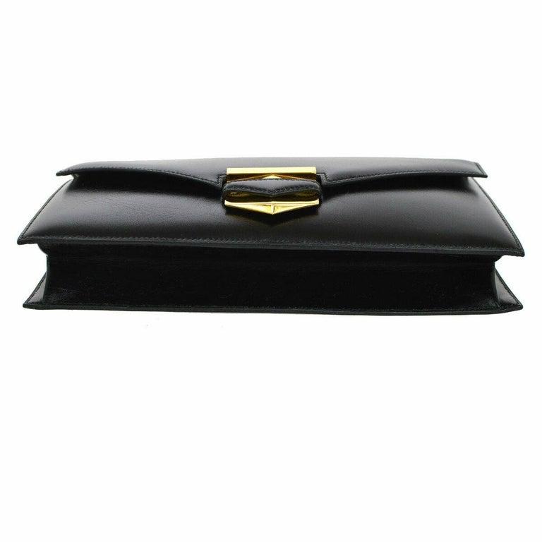 Women's Hermes Black Leather Gold Emblem Evening Envelope Clutch Flap Bag For Sale