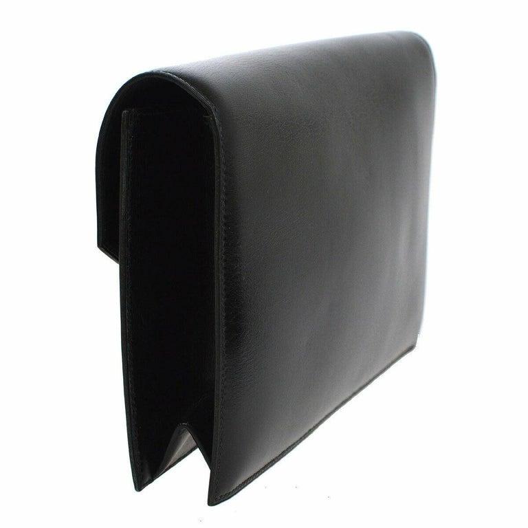 Hermes Black Leather Gold Emblem Evening Envelope Clutch Flap Bag For Sale 1
