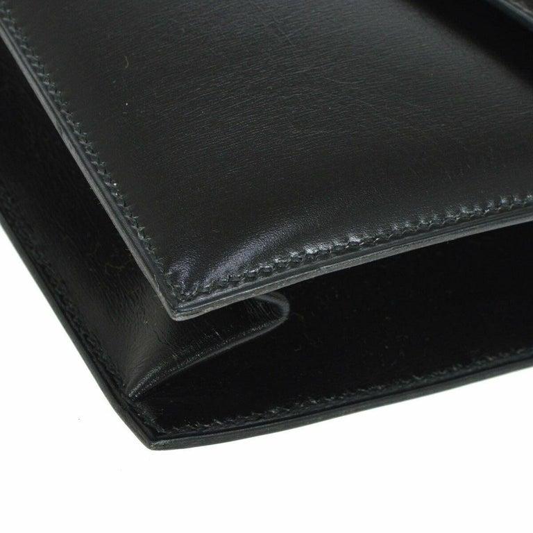 Hermes Black Leather Gold Emblem Evening Envelope Clutch Flap Bag For Sale 2