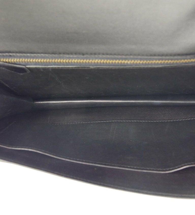 Hermes Black Leather Gold Emblem Evening Envelope Clutch Flap Bag For Sale 3