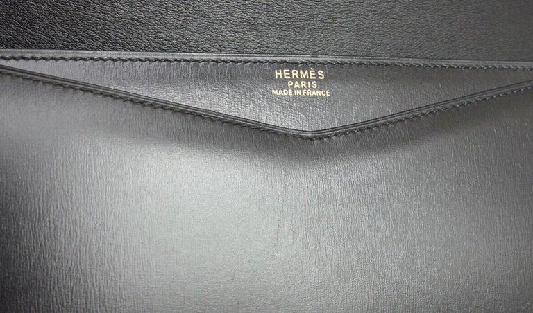 Hermes Black Leather Gold Emblem Evening Envelope Clutch Flap Bag For Sale 4