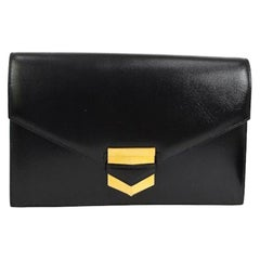 Hermes Black Leather Gold Emblem Evening Envelope Clutch Flap Bag