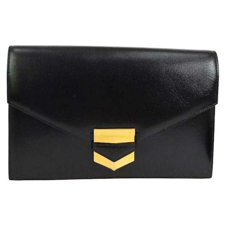 Hermes Black Leather Gold Emblem Evening Envelope Clutch Flap Bag For Sale