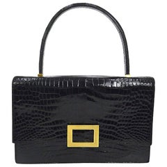 Hermes Black Leather Gold Emblem Evening Kelly Style Top Handle Satchel Bag