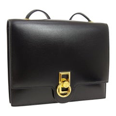 Hermes Black Leather Gold Emblem Toggle Evening Shoulder Flap Bag