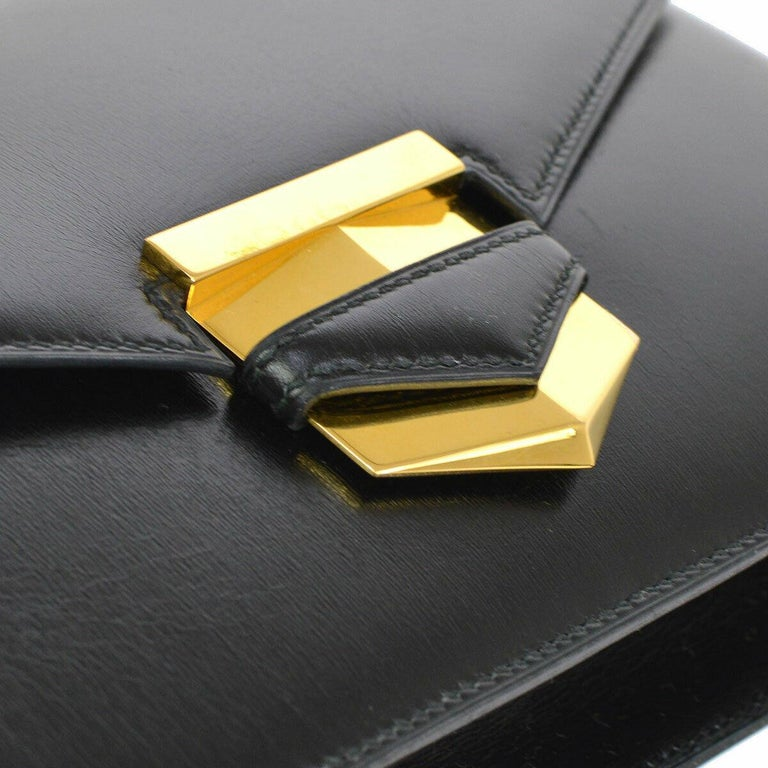 Hermes Black Leather Gold Evening Envelope Clutch Flap Bag  Leather Gold tone hardware Leather lining Made in France Measures 10