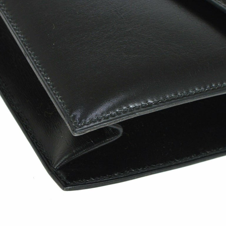 Hermes Black Leather Gold Evening Envelope Clutch Flap Bag For Sale 2