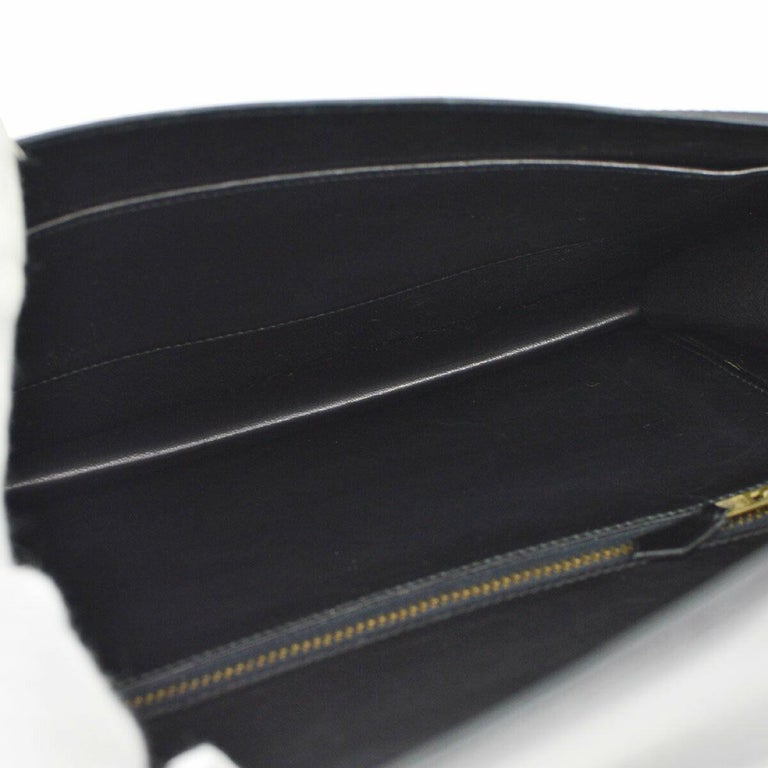 Hermes Black Leather Gold Evening Envelope Clutch Flap Bag For Sale 3