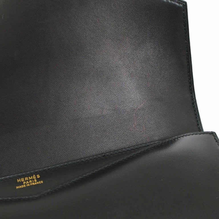 Hermes Black Leather Gold Evening Envelope Clutch Flap Bag For Sale 4
