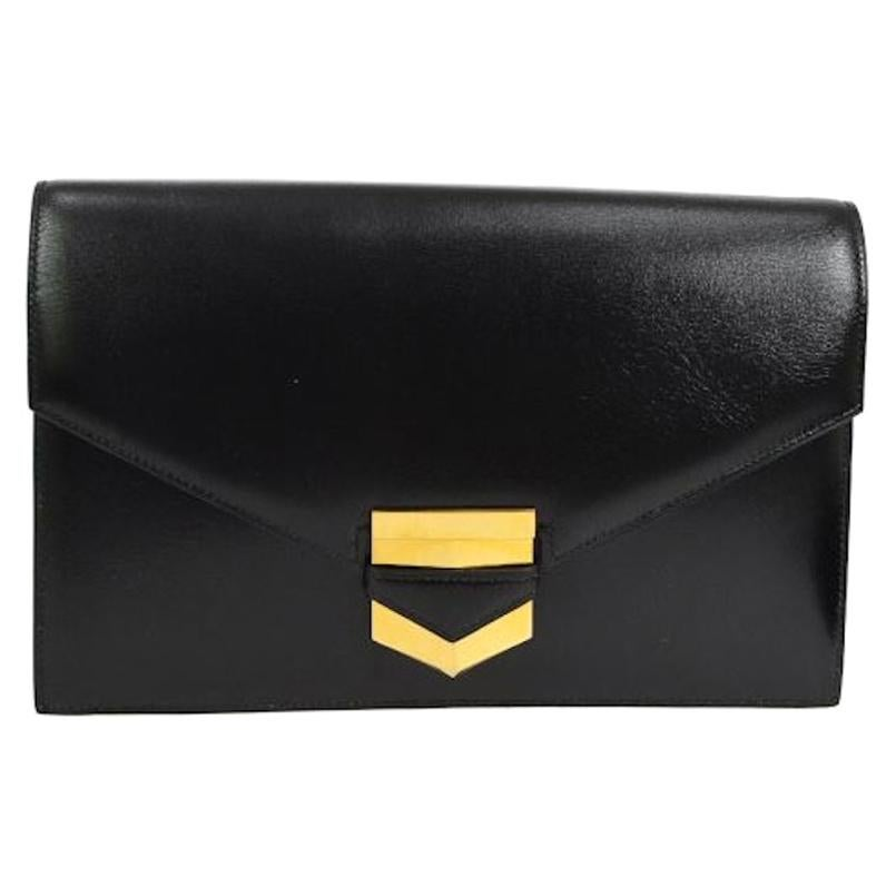 Hermes Black Leather Gold Evening Envelope Clutch Flap Bag