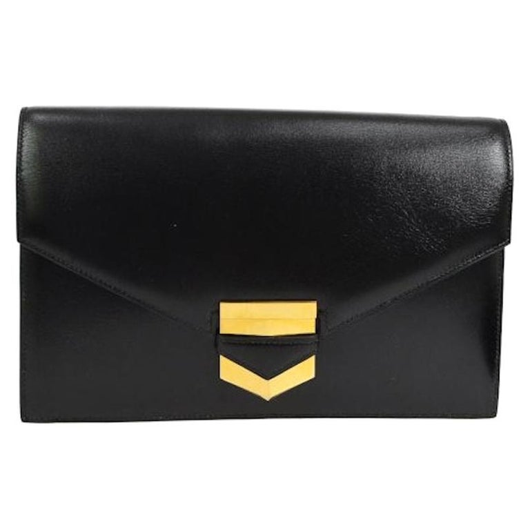 Hermes Black Leather Gold Evening Envelope Clutch Flap Bag For Sale