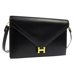 Hermes Black Leather Gold 'H' Logo 2 in 1 Clutch Envelope Shoulder Bag in Box
