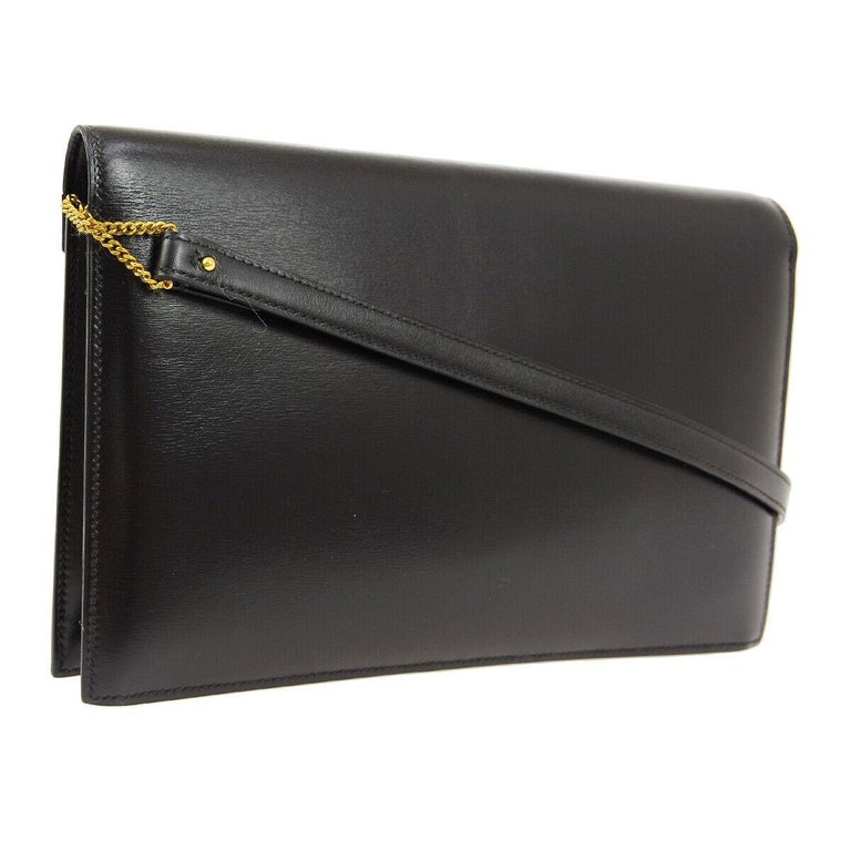 Hermes Black Leather Gold 'H