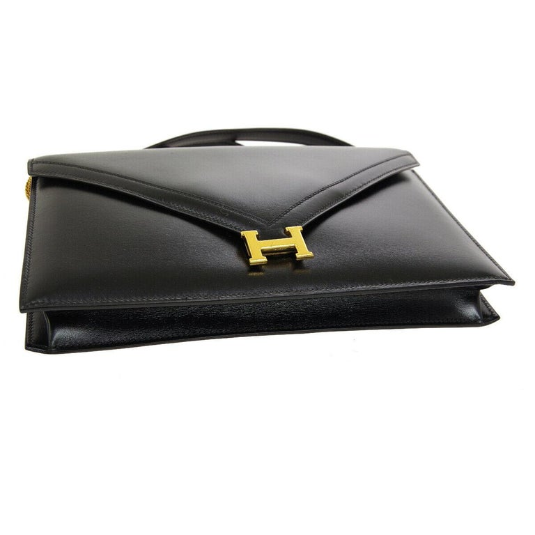 Women's Hermes Black Leather Gold 'H