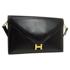 "Hermes Black Leather Gold 'H"" Logo Evening 2 in 1 Shoulder Flap Clutch Bag"