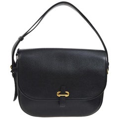 Hermes Black Leather Gold Hobo Carryall Evening Top HandleShoulder Flap Bag