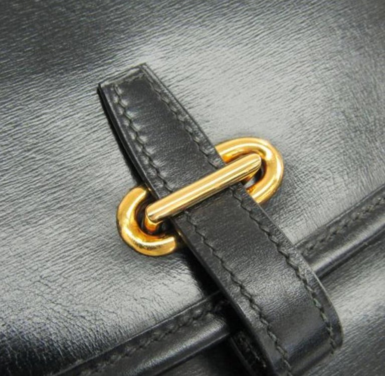 Hermes Black Leather Gold Hobo Carryall Evening Top HandleShoulder Flap Bag II In Good Condition For Sale In Chicago, IL