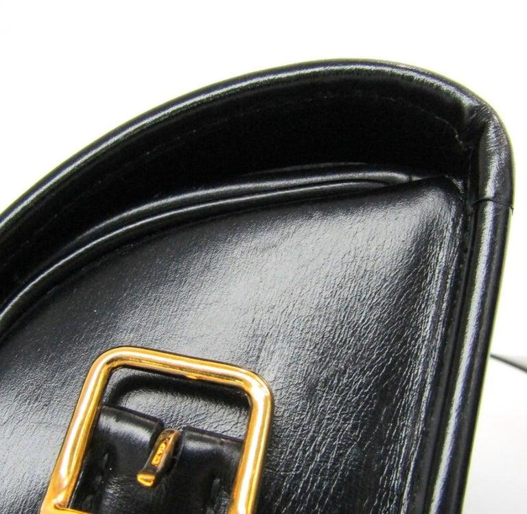 Hermes Black Leather Gold Hobo Carryall Evening Top HandleShoulder Flap Bag II For Sale 1