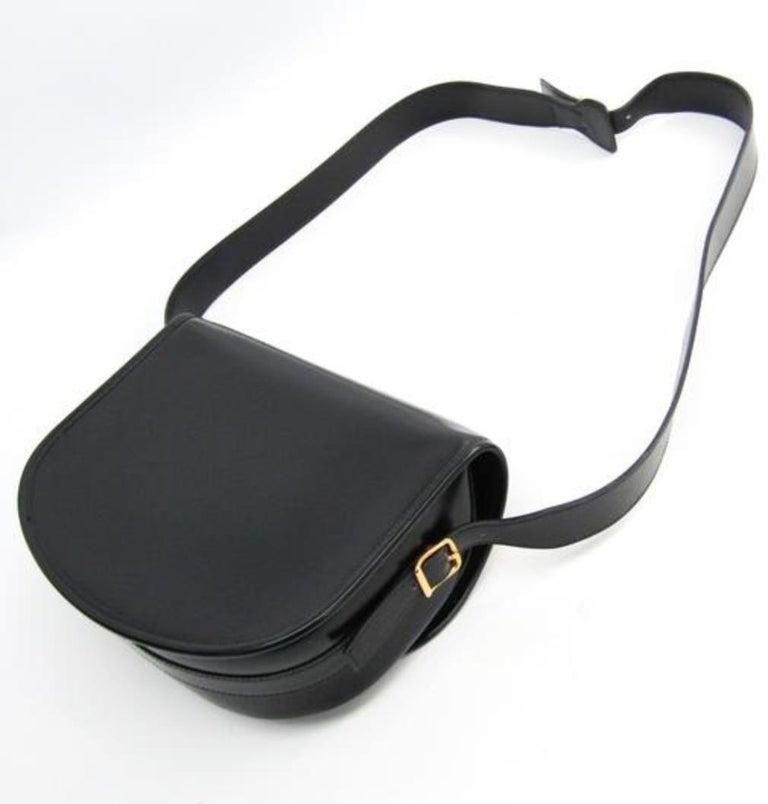 Hermes Black Leather Gold Hobo Carryall Evening Top HandleShoulder Flap Bag II For Sale 2