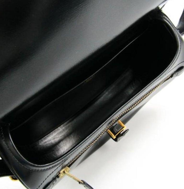 Hermes Black Leather Gold Hobo Carryall Evening Top HandleShoulder Flap Bag II For Sale 3