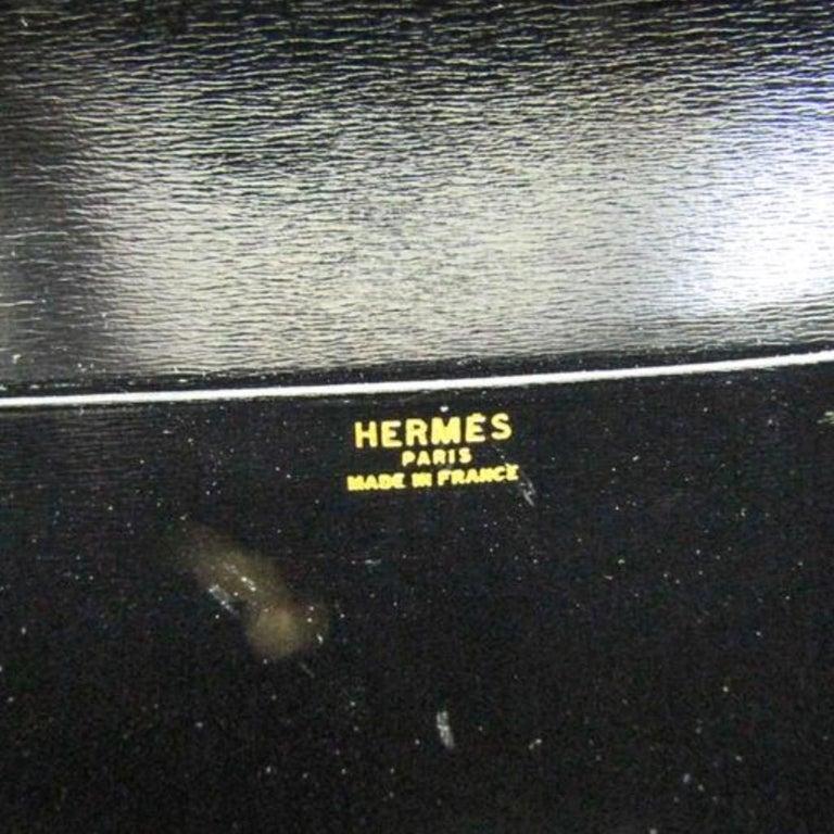 Hermes Black Leather Gold Hobo Carryall Evening Top HandleShoulder Flap Bag II For Sale 4