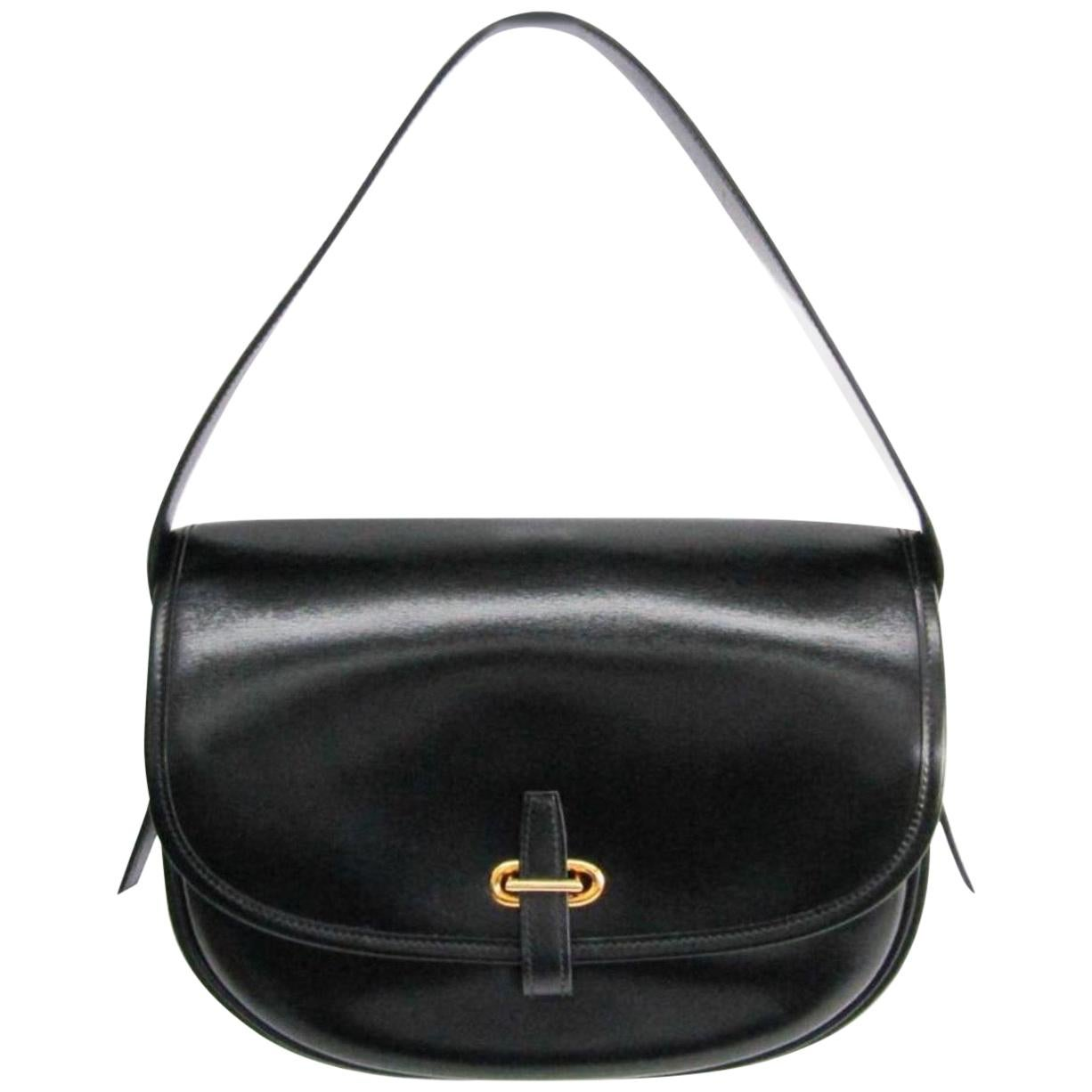 Hermes Black Leather Gold Hobo Carryall Evening Top HandleShoulder Flap Bag II