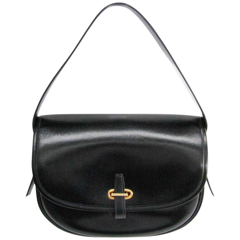 Hermes Black Leather Gold Hobo Carryall Evening Top HandleShoulder Flap Bag II For Sale