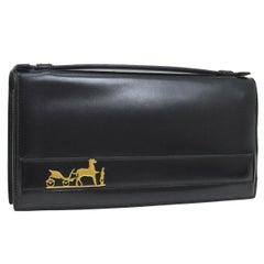 Hermes Black Leather Gold Horse Evening Clutch Top Handle Satchel Flap Bag