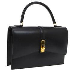 Hermes Black Leather Gold Kelly Style Flip Lock Top Handle Satchel Bag in Box