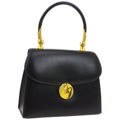 Hermes Black Leather Gold Kelly Style Small Evening Top Handle Satchel Flap Bag