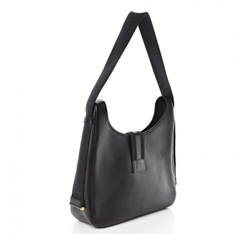 Hermes Black Leather Gold Large Carryall Shoulder Crossbody Bag In Good Condition For Sale In Chicago, IL