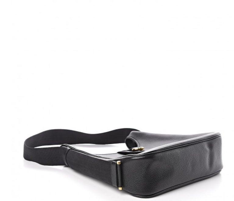 Women's Hermes Black Leather Gold Large Carryall Shoulder Crossbody Bag For Sale