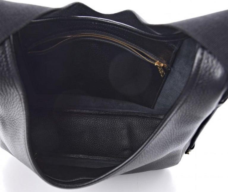 Hermes Black Leather Gold Large Carryall Shoulder Crossbody Bag For Sale 1