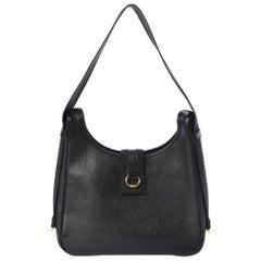 Hermes Black Leather Gold Large Carryall Shoulder Crossbody Bag