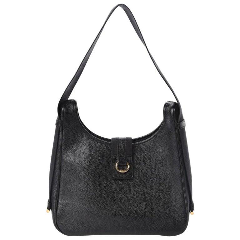 Hermes Black Leather Gold Large Carryall Shoulder Crossbody Bag For Sale