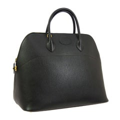 Hermes Black Leather Gold Large Travel Carryall Top Handle Satchel Tote Bag